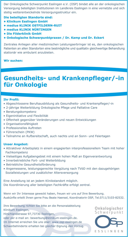 Gesundheits- und Krankenpfleger/in für Onkologie ...
